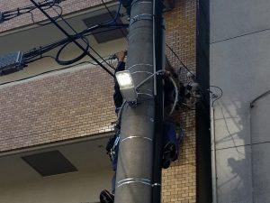 名古屋市中区にてLED街路灯取替電気工事