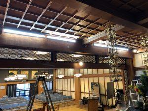 名古屋市千種区のお寺にて蛍光灯からLED照明器具へ取替電気工事