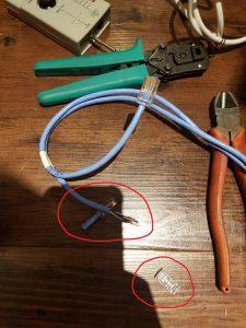 名古屋市港区の小売店様にてLANケーブルプラグの取替電気工事