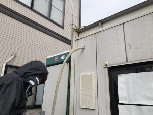 名古屋市中川区の仮設現場事務所にて仮設電源引込口配線工事