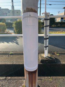 名古屋市中川区の店舗様駐車場にてポールの蓋の取替電気工事