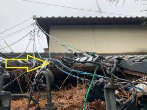 三重県四日市市の店舗様にて引込電線の改修電気工事