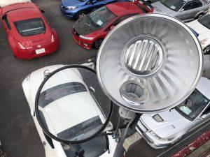 名古屋市名東区の中古車販売店様において駐車場灯の水銀灯取替電気工事