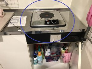 名古屋市名東区のオフィスの水屋にてIHクッキングヒーター用200Vコンセントの増設電気工事